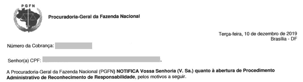 cobrança PGFN - Procuradoria-Geral da Fazenda Nacional